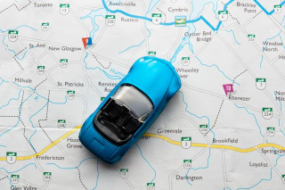 Blue Car with Map
