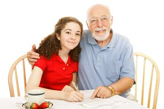 Young girl & grandfather